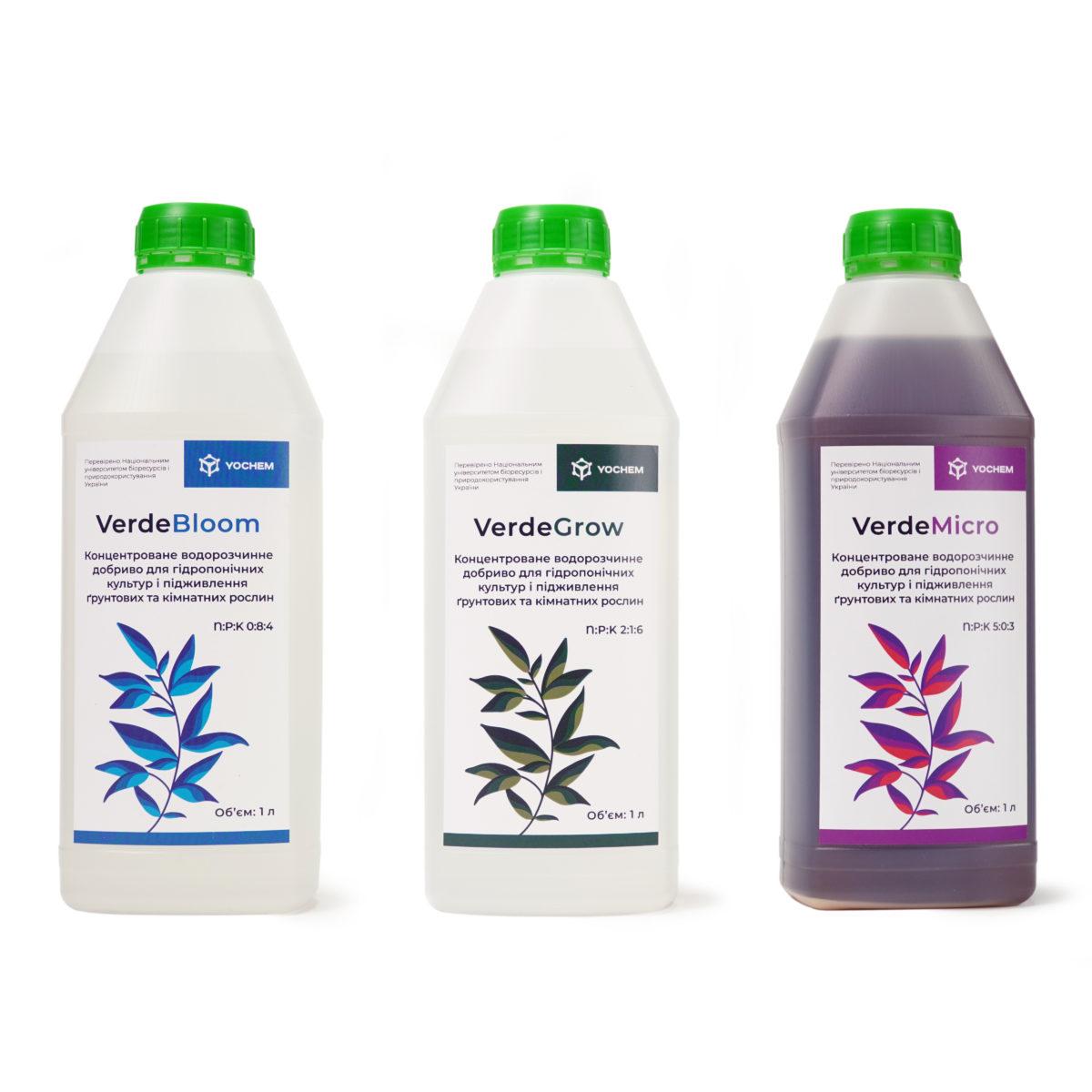 Набор концентрированных водорастворимых удобрений для гидропонных культур и подкормки грунтовых и комнатных растений Verde